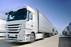Free Modern European Truck With Semitrailers Convoy On Royalty Free Stock Photography - 22492177
