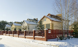 Modern European winter village Royalty Free Stock Photo