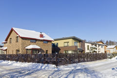 Modern European winter village Royalty Free Stock Photography