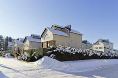 Modern European winter village Royalty Free Stock Images