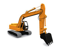 Modern excavator. Modern industrial excavator with boom arm and shovel bucket; isolated on white background Stock Image