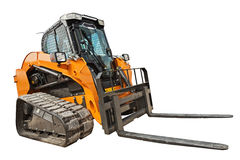 Modern excavator bulldozer with clipping path isolated Royalty Free Stock Image