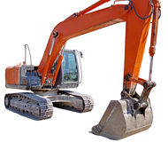 Modern excavator machines isolated on white Royalty Free Stock Photography