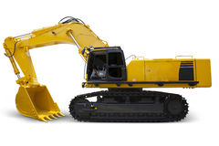 Modern excavator with yellow color Royalty Free Stock Images