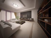 Modern Exclusive Living Room With Stylish Comfortable Furniture. Royalty Free Stock Images