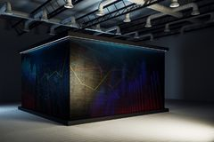 Modern exhibition hall with projection. S. Presentation concept. 3D Rendering Royalty Free Stock Photography