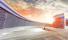 Modern exterior architecture. Sunset and modern metal architecture Royalty Free Stock Photos