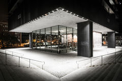Modern exterior of a building at night, in downtown Baltimore, M Royalty Free Stock Image