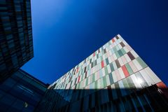 Modern exterior of a colorful office building in Milan, Italy. Europe royalty free stock images