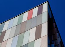 Modern exterior of a colorful office building in Milan, Italy. Europe stock photo