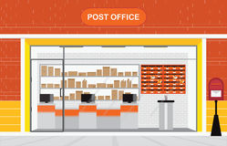 Modern exterior and interior of post office Building. vector illustration