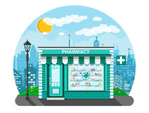 Modern exterior pharmacy or drugstore. Cityscape, lamp, buildings, sun, clouds. Medicine pills capsules bottles vitamins and tablets. vector illustration in Royalty Free Stock Photos