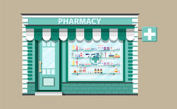 Modern exterior pharmacy or drugstore. Medicine pills capsules bottles vitamins and tablets. vector illustration in flat style Royalty Free Stock Images