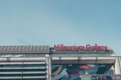 Modern exterior of Sheffield`s Millennium Gallery on a Winters Morning Royalty Free Stock Images
