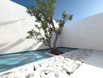 Modern exterior walled patio Stock Images
