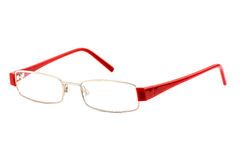 Modern eye glasses with shadows isolated on white background. Modern eye glasses with shadows isolated on white Stock Photography