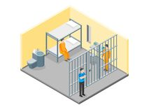 Modern fängelseinre med isometrisk sikt för möblemang och för folk vektor vektor illustrationer
