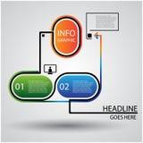 Modern färgrik glansig designmall för Infographics-/dataprocess med linjen anförandeask Royaltyfria Bilder