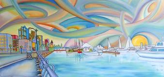 Modern färgrik målning av den Seattle staden. royaltyfri illustrationer