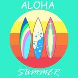 Modern färgrik surfingbrädauppsättning för vektor Royaltyfri Bild