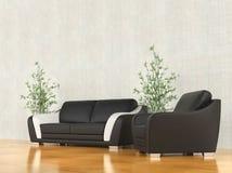 Modern fåtölj och soffa Royaltyfri Fotografi
