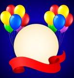 Modern födelsedagbakgrund med ballonger och ställe för text Vektor Illustrationer