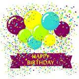 Modern födelsedagbakgrund med färgrika ballonger Arkivbild