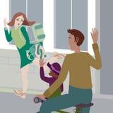 Modern för vektorillustrationaffären säger farväl till hennes dotter och hennes make som rider en cykel royaltyfri illustrationer