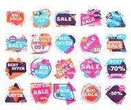 modern försäljningsset för etiketter stock illustrationer