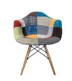 Modern Fabric Armchair with wood Legs/patchwork pattern Royalty Free Stock Photography