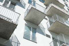 Modern facade with balconies residential building. Facade with balconies, esidential building, concrete house, New apartment house Stock Image
