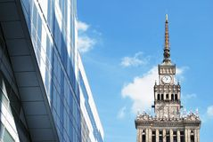 Modern facade. A modern landmark and a powerful symbol of Warsaw's energy. The highest sustainable standards combined with comfortable and efficient office Royalty Free Stock Photography