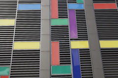 Modern facade made of coloured plates in Munich Germany. Modern facade made of colour plates of aluminium stock photos