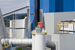 Modern factory. Modern power station with pipeline construction Stock Images