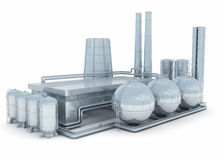 Modern factory. An abstract modern factory isolated on white Royalty Free Stock Photography