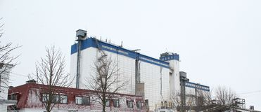 Modern factory building from outside. View of modern factory building from oute Stock Photo