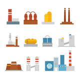 Modern factory buildings collection Royalty Free Stock Images