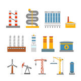 Modern factory buildings collection Royalty Free Stock Photography