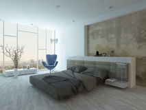 Modern factory-style bedroom interior with concrete wall Royalty Free Stock Image