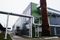Modern factory with tubes Royalty Free Stock Images