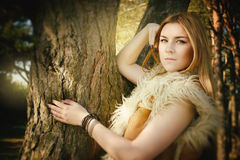 Modern fairy tale about young girl beauty in wood Royalty Free Stock Photos