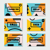 Modern Fall cards templates set with black messages and symbols Stock Photography