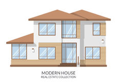 Modern family house, real estate sign in flat style. Vector illustration. Stock Photos