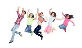 Modern family jumping Stock Photo