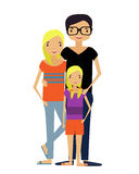 Modern Family. The mother and father and their baby are hugging Stock Images