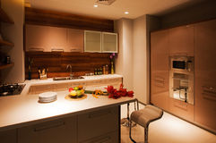 The kitchen 21. The modern family pay attention to design and decoration of the kitchen Royalty Free Stock Photo