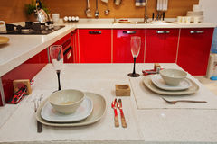 The kitchen 27. The modern family pay attention to design and decoration of the kitchen Royalty Free Stock Photo