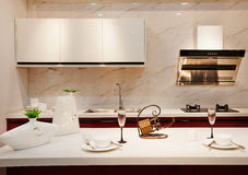 The kitchen 39. The modern family pay attention to design and decoration of the kitchen Stock Image