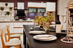 The kitchen 36. The modern family pay attention to design and decoration of the kitchen Stock Image