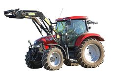 Modern farm tractor. On a white background, Isolated Stock Photos